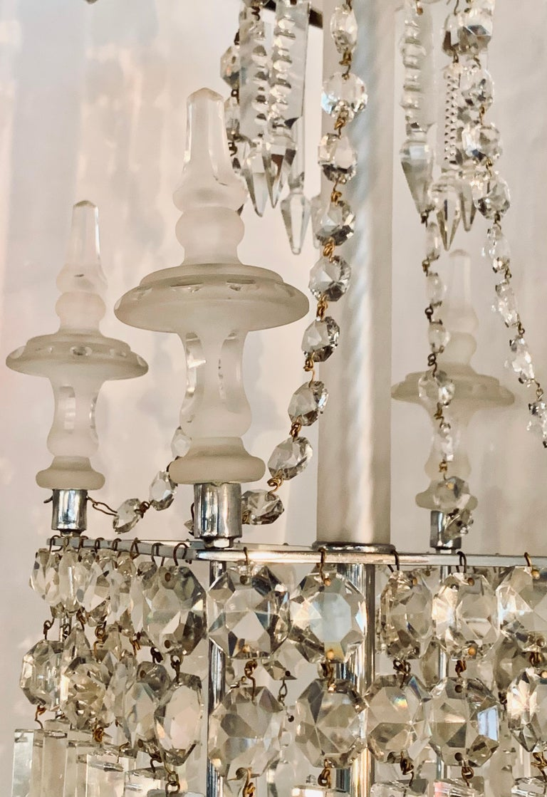Victorian Antique Square Crystal Chandelier with Frosted Glass Spires For Sale