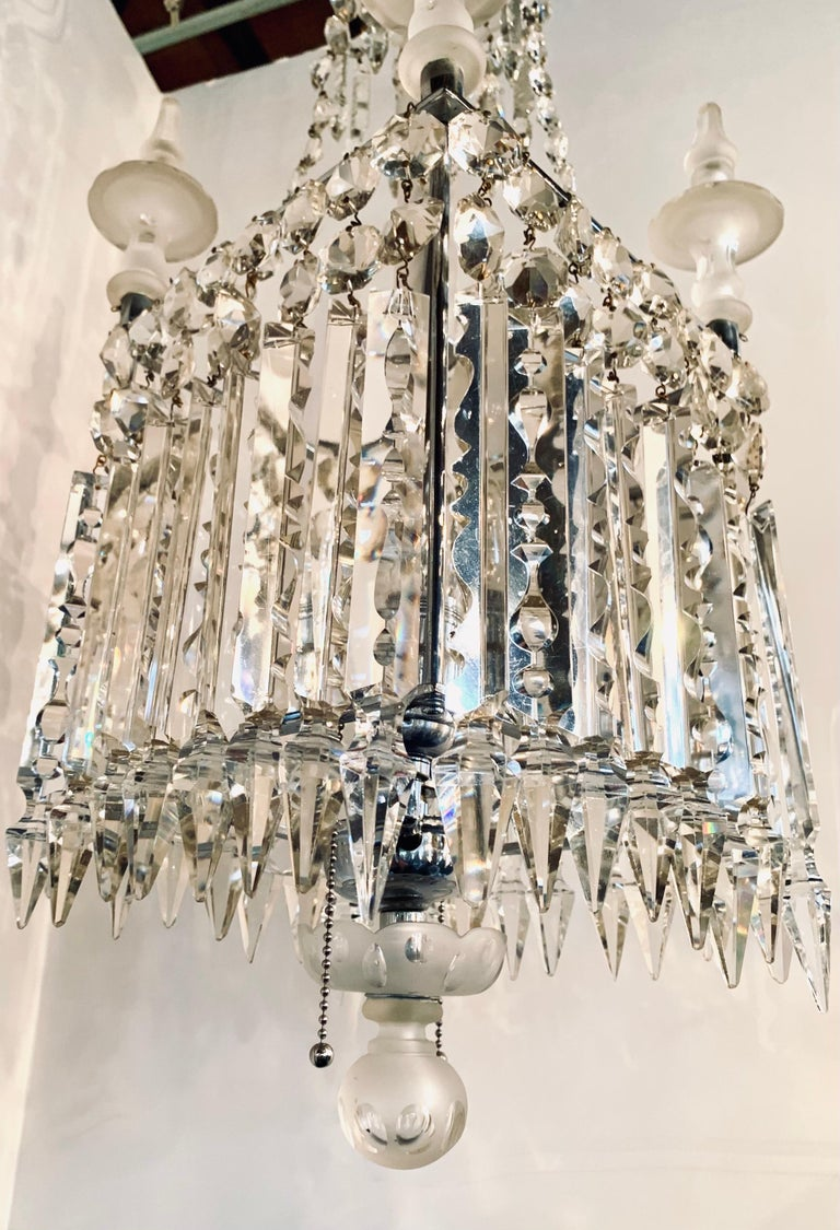 Early 20th Century Antique Square Crystal Chandelier with Frosted Glass Spires For Sale