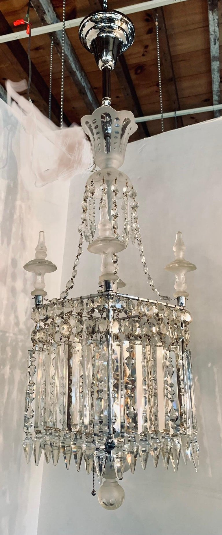 Antique Square Crystal Chandelier with Frosted Glass Spires For Sale 1