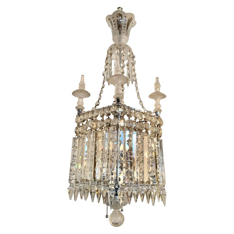Antique Square Crystal Chandelier with Frosted Glass Spires For Sale