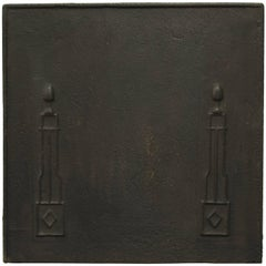 Antique Square Fireback with Pillars, 19th Century