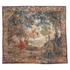 Antique Square Late 17th C. Brussels Baroque Mythological Tapestry Mars Venus
