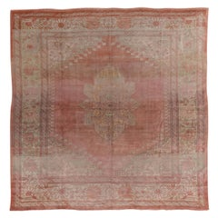 Antique Square Oushak Carpet, Pink Field, Lightly Distressed