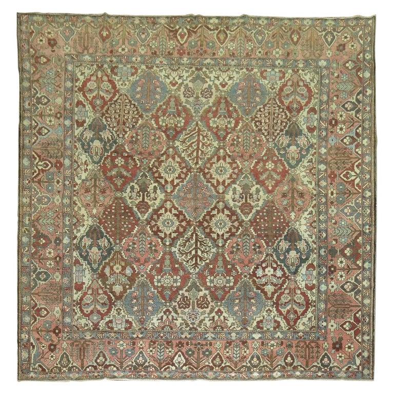 Antique Square Persian Bakhtiari Rug For Sale