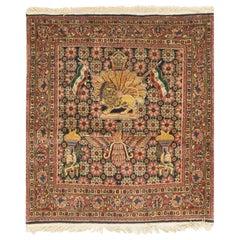 Antique Square Persian Kazvin Rug