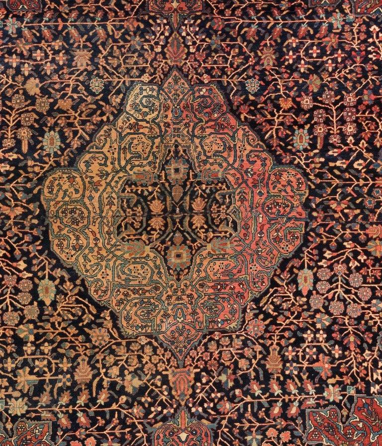 Sarouk Farahan Antique Square Persian Navy Farahan Sarouk Rug, circa 1900s For Sale
