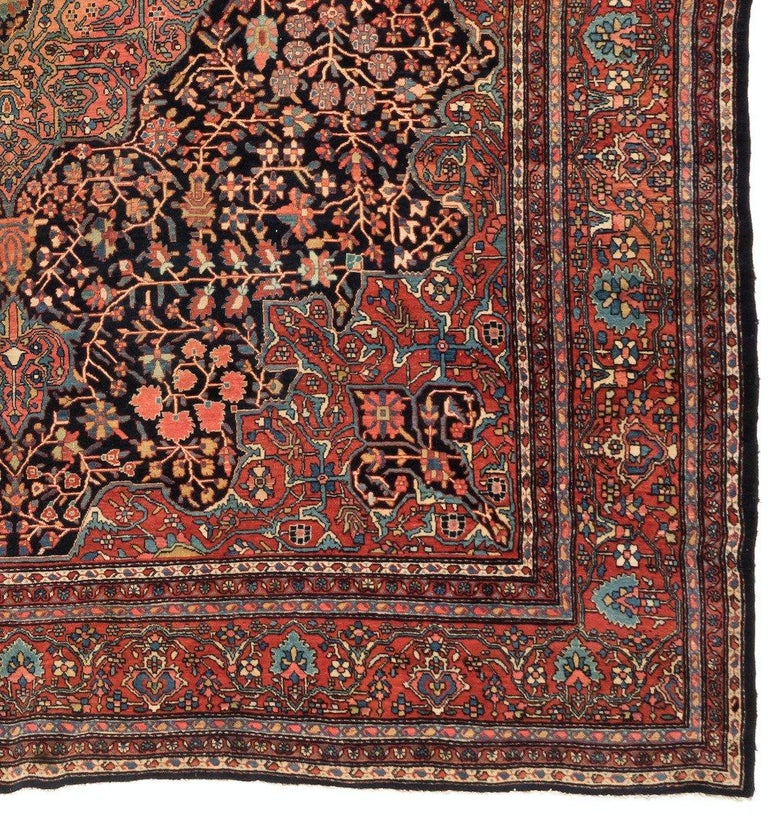 Hand-Knotted Antique Square Persian Navy Farahan Sarouk Rug, circa 1900s For Sale