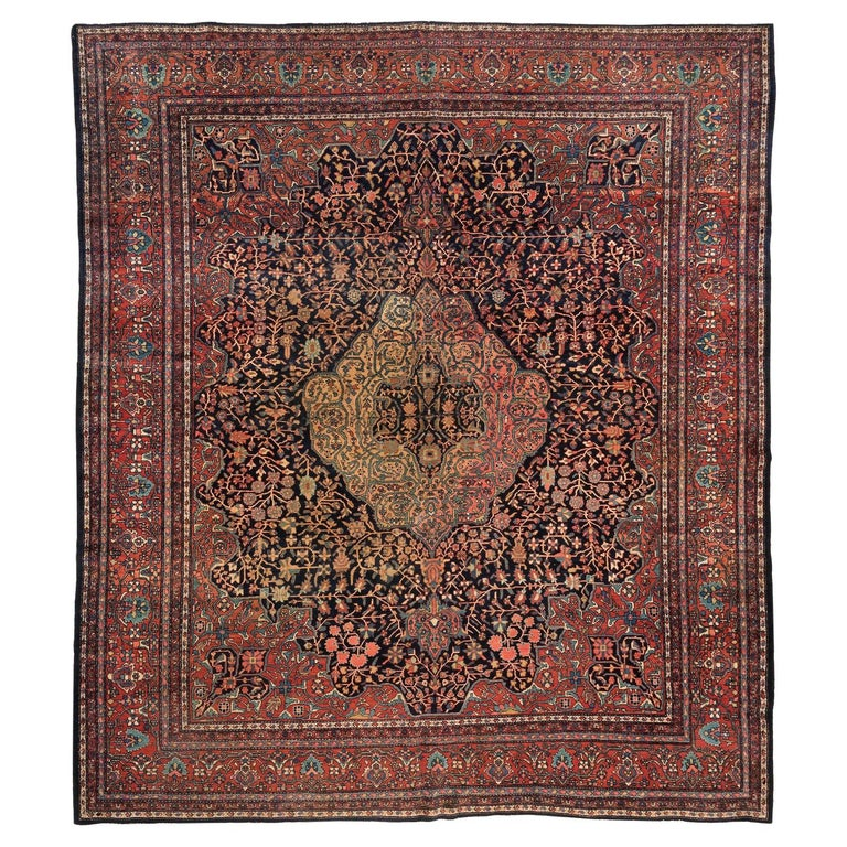 Antique Square Persian Navy Farahan Sarouk Rug, circa 1900s For Sale