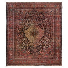 Antique Square Persian Red Navy Blue Farahan Sarouk Room Size Area Rug c. 1900s