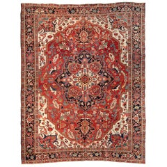 Antique Square Persian Serapi Carpet, circa 1900-1910s