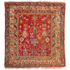 Antique Square Red Gold Light Blue Ivory Turkish Oushak Area Rug circa 1880-1900