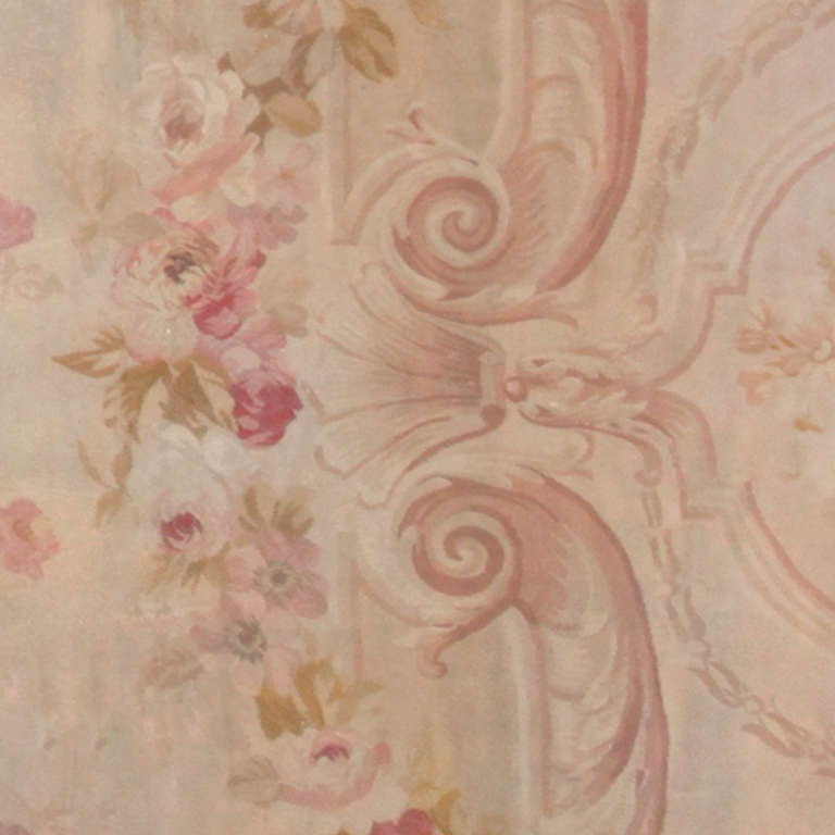 Hand-Woven Antique Square Size French Aubusson Rug. Size: 20 ft x 20 ft 8 in For Sale