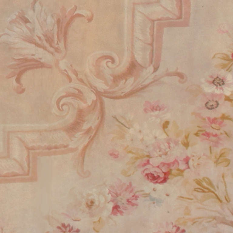 19th Century Antique Square Size French Aubusson Rug. Size: 20 ft x 20 ft 8 in For Sale