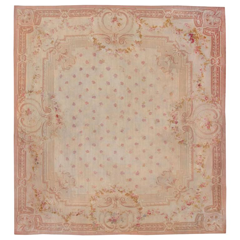 Antique Square Size French Aubusson Rug. Size: 20 ft x 20 ft 8 in For Sale
