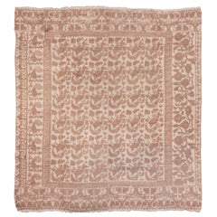 Antique Square Spanish Rug, Light Palette, All-Over Field, High Low Pile