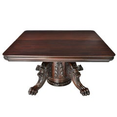 Antique Square to Long Extension Dining Table with Pedestal, RJ Horner, NY