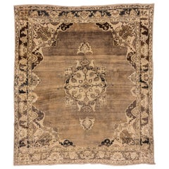 Antique Square Turkish Oushak Rug, Brown Field, Center Medallion