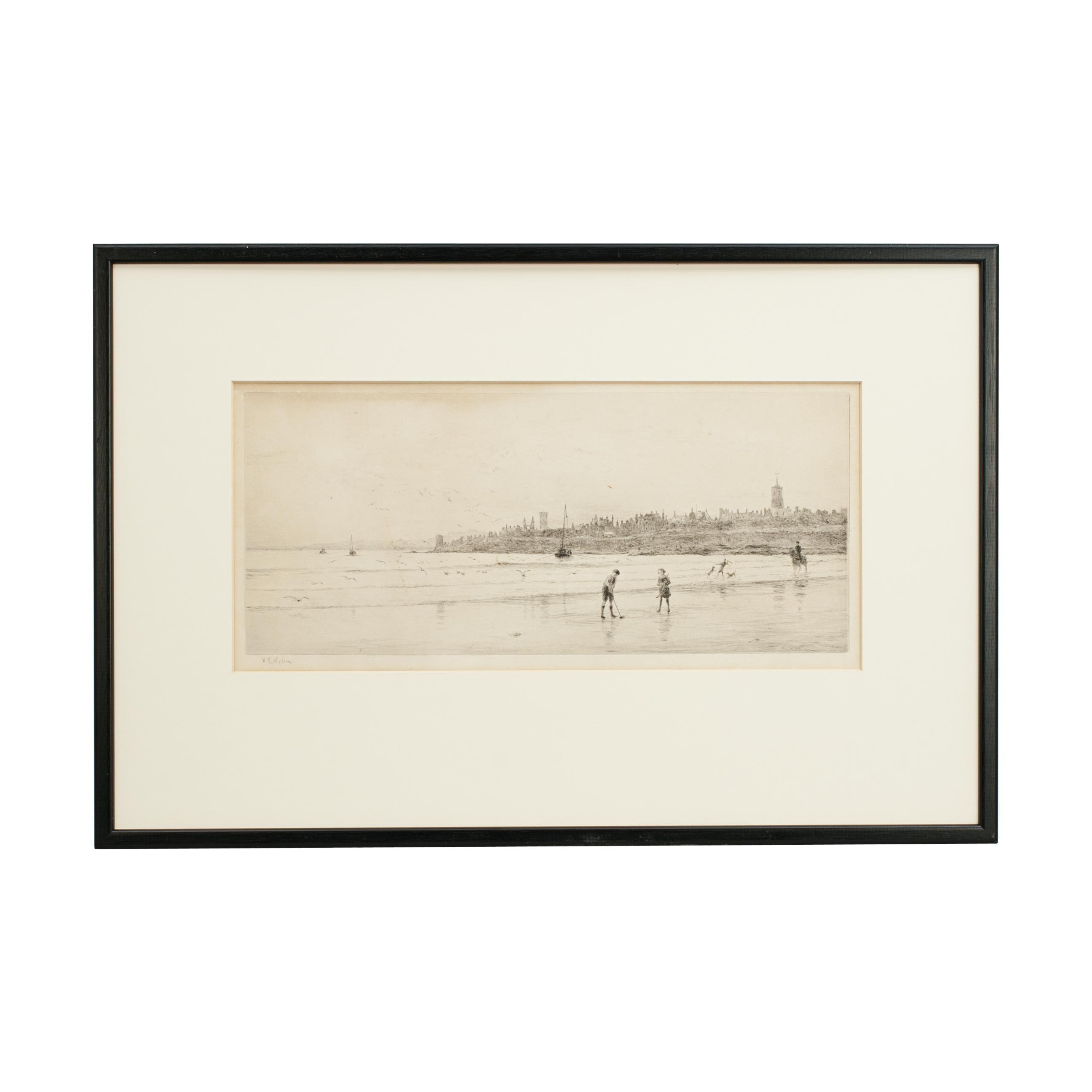 Antique St Andrews Golf Etching by W.L. Wyllie, circa 1900