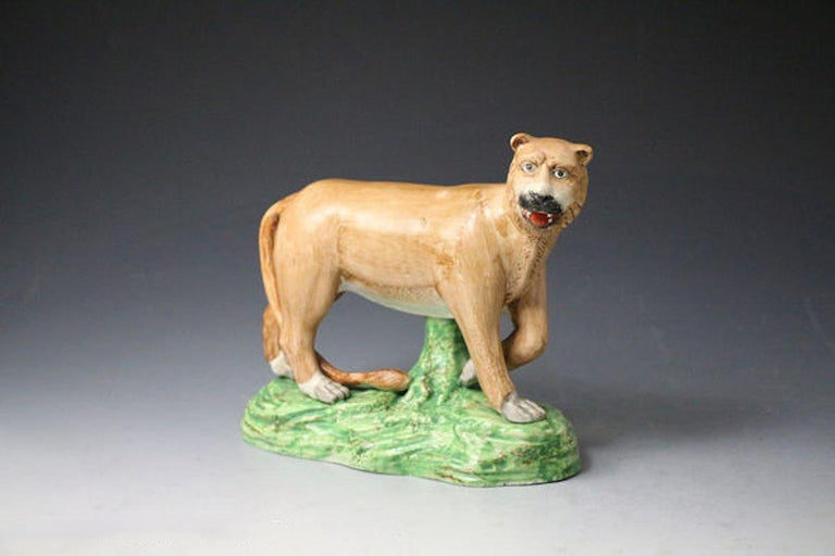 Early 19th Century Antique Staffordshire Figure of a Standing Lioness by Dale & Co For Sale