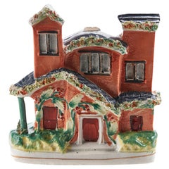 Antique Staffordshire Flatback Cottage, circa 1880