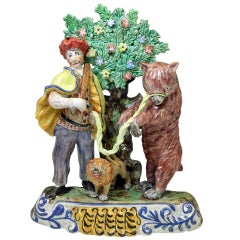 Staffordshire Pottery Figure of a Dancing Bear Group with Bocage, circa 1820