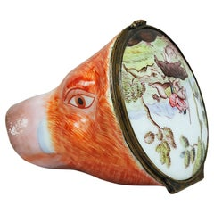 Antique Staffordshire Stirrup Cup, Rare, Covered Porcelain Boar's Head