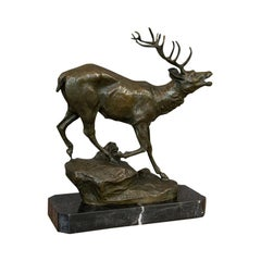 Antique Stag Bronze, French, Deer, Elk, Prosper LeCourtier, Victorian circa 1900