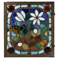Antique Stained Glass Ceiling Light or Wall Panel Jewels & Rondels Brass Frame