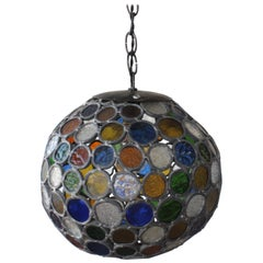 Antique Stained Glass Hanging Pendant Light, U.S.A, 1960s