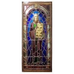 Antique Stained Glass Window Depicting Moses
