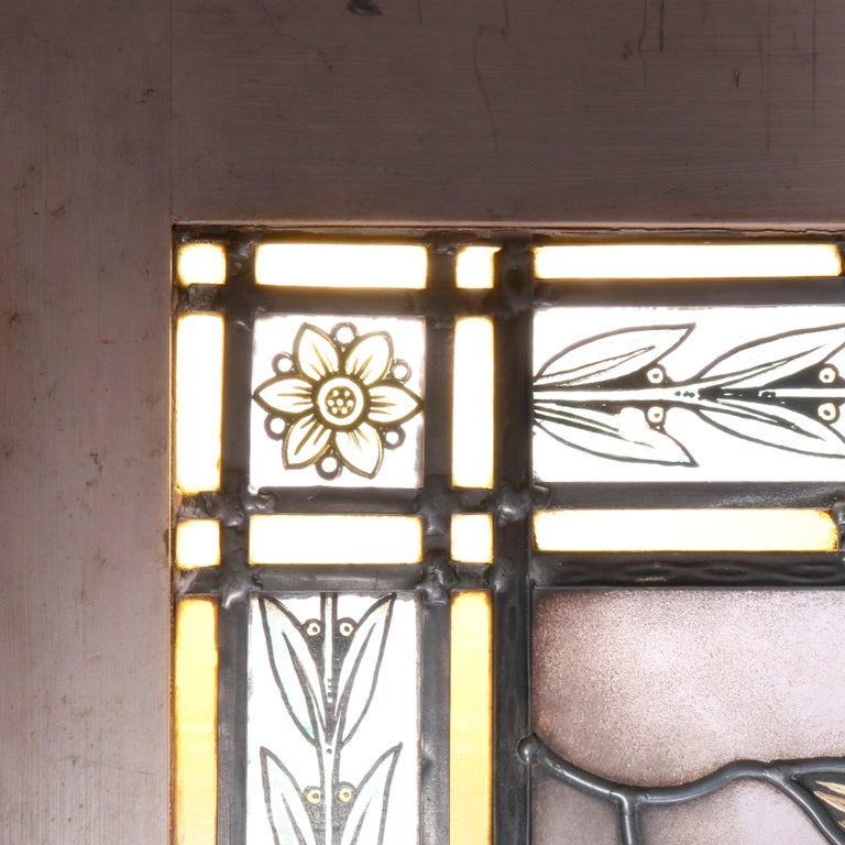 Antique Stained, Painted and Leaded Mosaic Glass Window