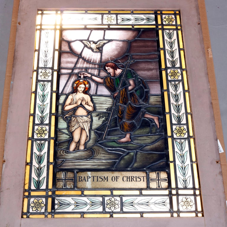 Italian Antique Stained, Painted and Leaded Mosaic Glass Window