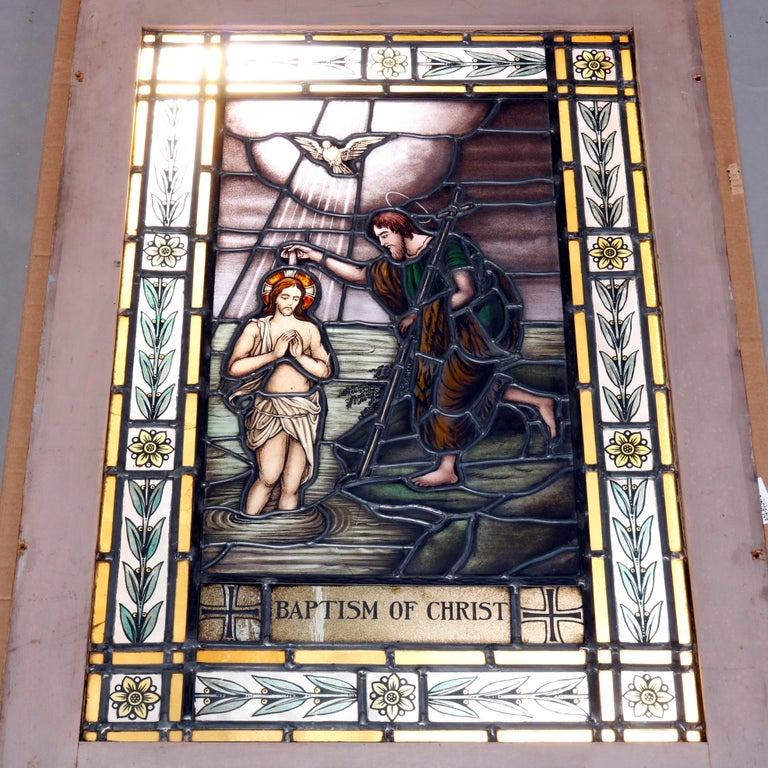 Carved Antique Stained, Painted and Leaded Mosaic Glass Window
