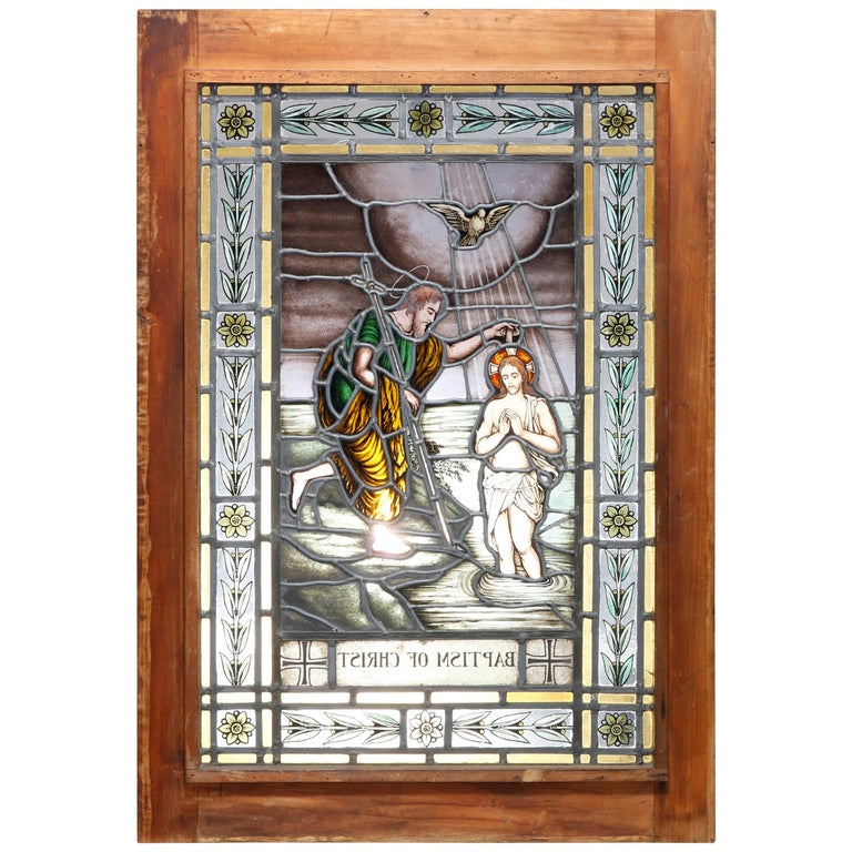 """Antique Stained, Painted and Leaded Mosaic Glass Window """"Baptism of Christ"""" 1890 For Sale"""
