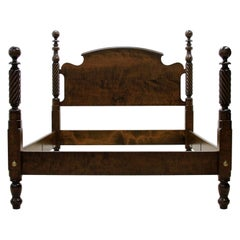 Tiger Maple Twisted Cannonball Four Poster Bed by Scott James Furniture