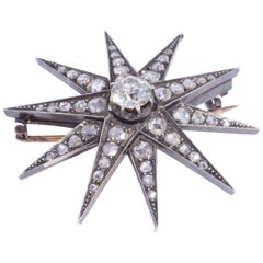 Antique Star Burst Diamond Brooch