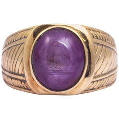 Antique Star Ruby and 9 Carat Gold Signet Ring