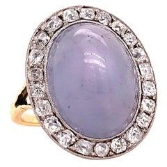 Antique Star Sapphire Diamond Cluster Ring