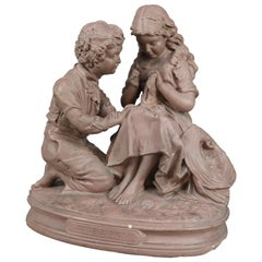 """Antique Statuary Grouping After John Rogers """"First Love !"""", 19th Century"""