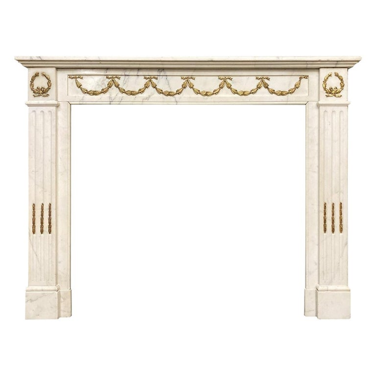 Antique Statuary White Marble French Louis XVI Style Fireplace Mantel  For Sale