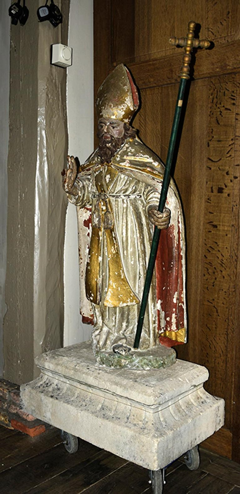 Hand-Carved Antique Statue of Holy Man from the 17th Century For Sale