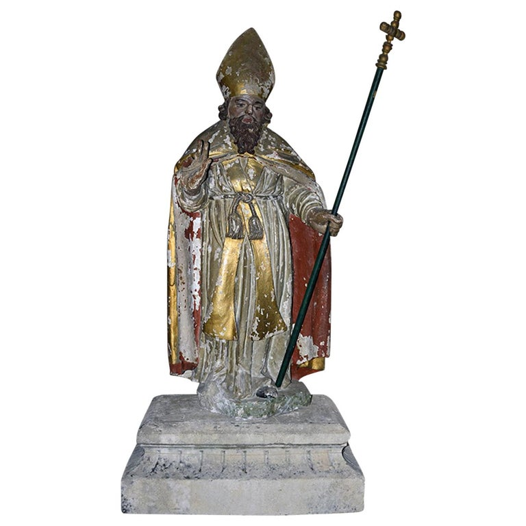 Antique Statue of Holy Man from the 17th Century For Sale