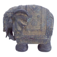 Antique Statue, Sculpture of African Elephant Wood with Detail Overlay