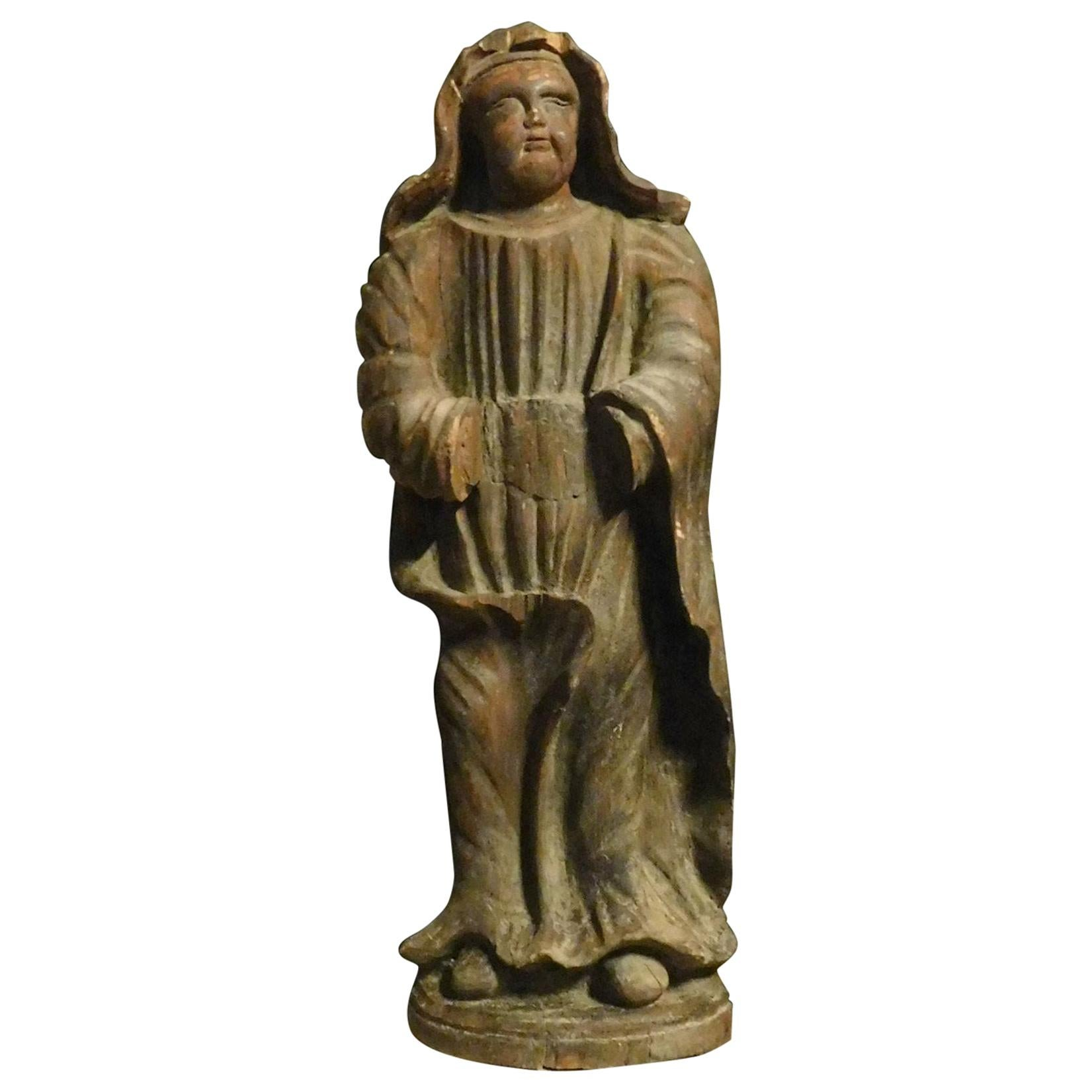 Antique Statue Sculpture, Wood Figurine Depicting Mystical Character, 1600 Italy