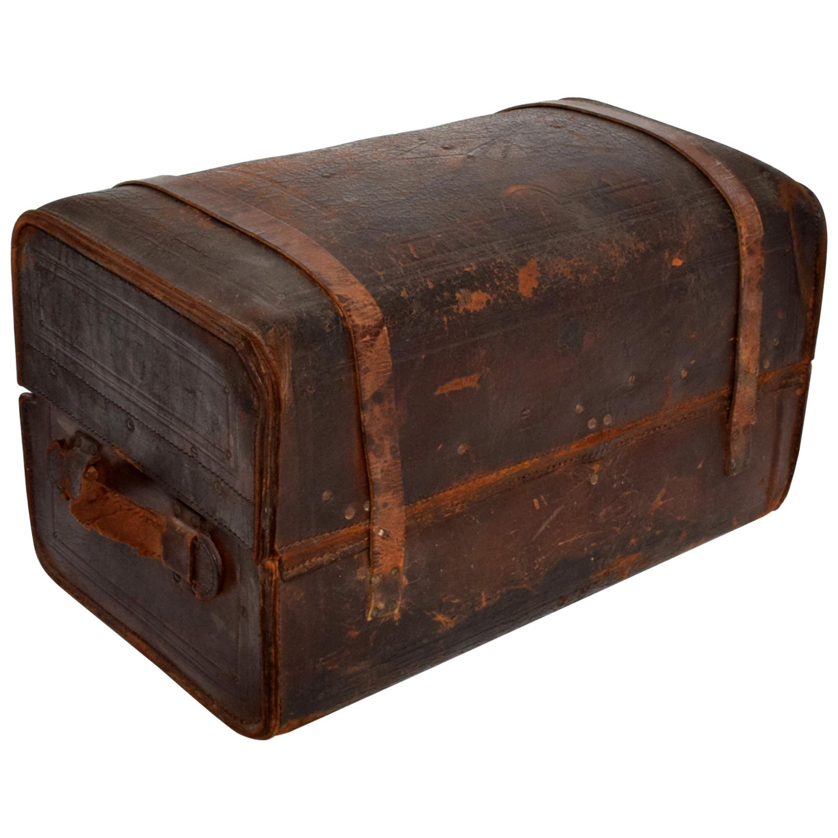 Antique Steamer Dome Trunk Distressed Leather Travel Case by S. Dennin, New York