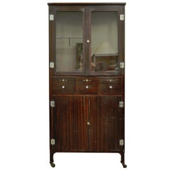 Antique Steel Metal Dental Cabinet Bathroom Storage Display Medical Industrial