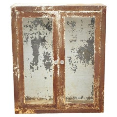 Antique Steel Metal Industrial Medical Dental Display Cabinet with Glass Doors