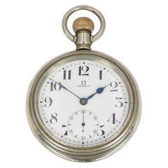 Antique Steel Omega Pocket Watch, Early 20th Century