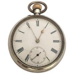 Antique Stem-Winding Silver Pocket Watch