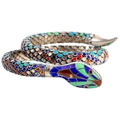 Antique Sterling and Enamel Art Deco Coil Snake Bracelet